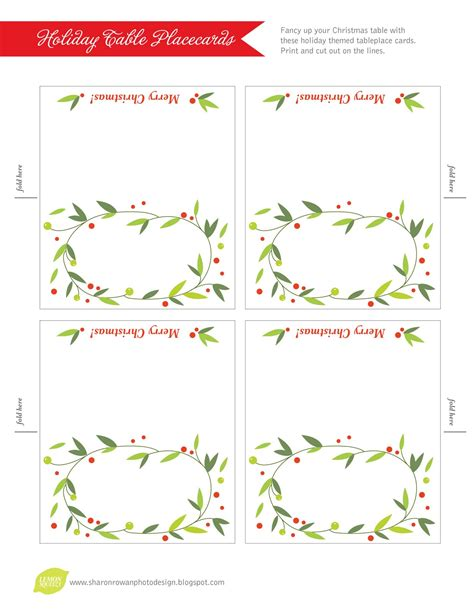 Place Cards Template Free by Lemon Squeezy Day 12 Place Cards