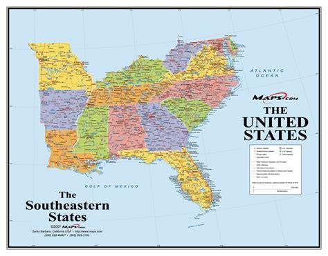 southeast us map southeast usa wall map maps