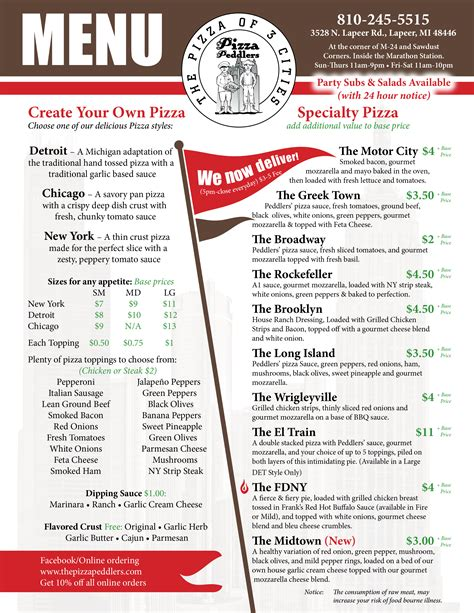 design your menu menu the pizza peddlers