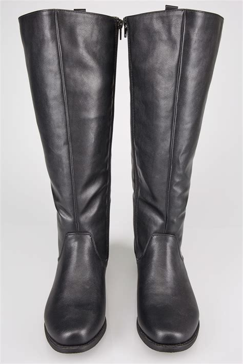 Boots Gift Cards Terms And Conditions - black xl calf high leg boots with stretch panels sizes 4eee to 10eee