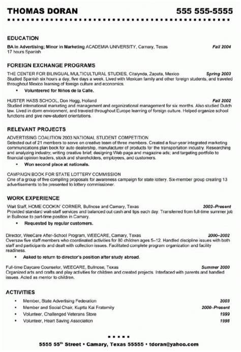 exles of good waitress resumes resume template exle
