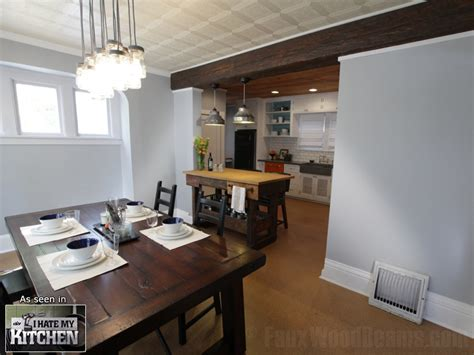 Kitchen And Dining Room Open Floor Plan Diy Kitchen Makeovers With Beams Faux Wood Workshop