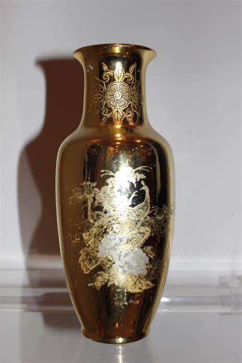 ebay japan vintage round gold metallic detail peacock floral vase jar