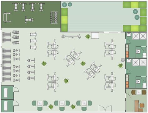 fitness center floor plan gym and spa area plans solution conceptdraw com