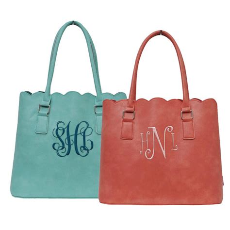 Initial Bag Free 6 Initial monogram scallop tote bag personalized scallop purse