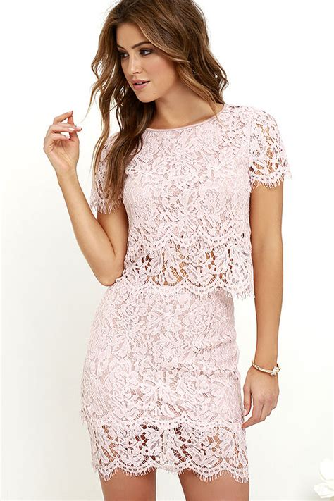 Set Nazla Mini Dress Korea blush pink two dress lace two dress