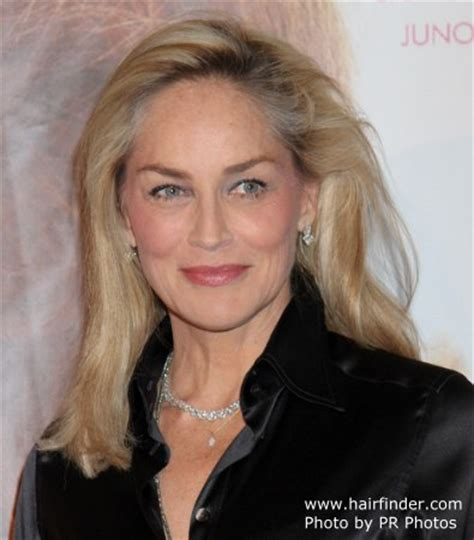 55year old woman face sharon stone long smoothed hairststyle and a shiny