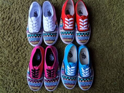 blue pattern vans shoes pink red colorful blue vans aztec light blue