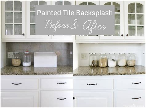 How To Paint Tile Backsplash In Kitchen by I Painted Our Kitchen Tile Backsplash The Wicker House