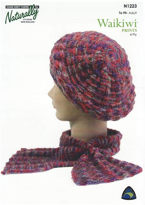 knitting patterns hats scarves gloves n1223 beret cravat
