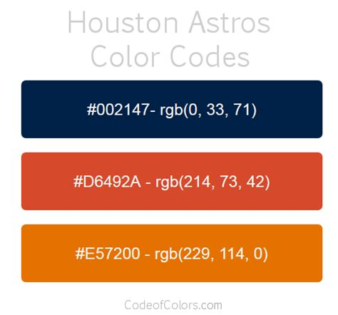 houston astros colors hex and rgb color codes
