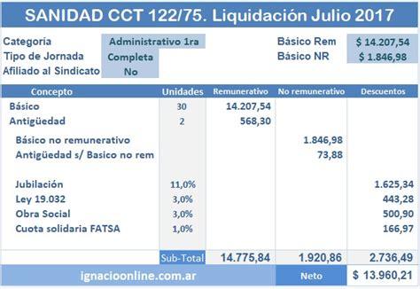 sanidad cct 2017 sanidad cct 2017 sanidad liquidaci 243 n de haberes julio