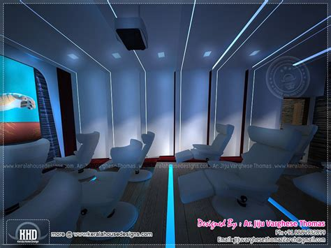 home theater  spillover space interiors home kerala plans