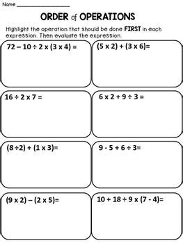 free order of operations this product contains 1 worksheet