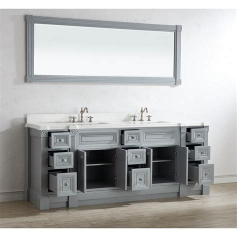 84 inch gray finish sink bathroom vanity cabinet