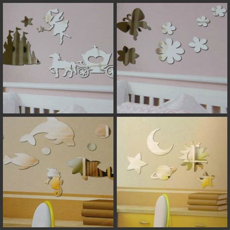 mirror bedroom nursery wall stickers butterfly space cars
