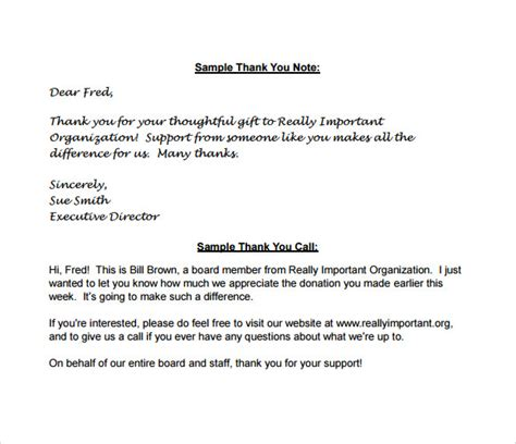 Thank You Note For A Donation Sle Thank You Notes For Donations 7 Documents In Pdf Word