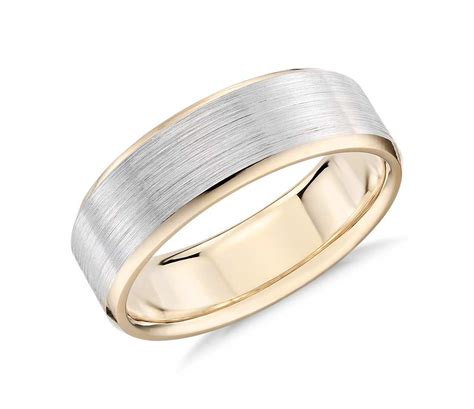 Wedding Rings Yellow And White Gold brushed beveled edge wedding ring in 14k white and yellow