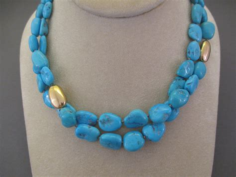 sleeping turquoise 14kt gold necklace 2 strands