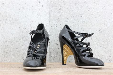 chanel high heels chanel black patent leather high heel janes 9