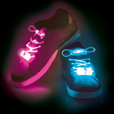 Light Up Led Flashing Shoelaces Pink Green Or Blue Light Up