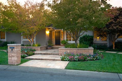front yard landscaping ideas exterior traditional with front porch beige siding