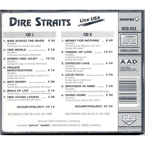 live usa live usa recorded live in usa 1985 by dire straits cd x