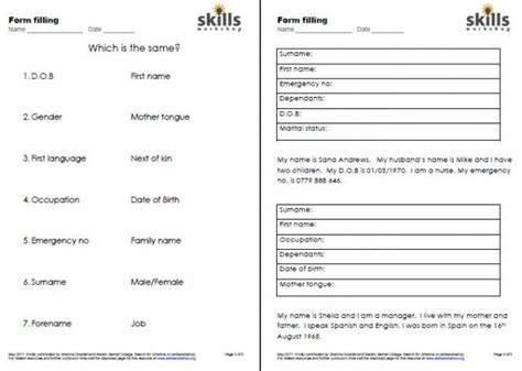 Resume Format Pdf Blank by Form Filling Skills Workshop