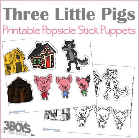 three little pigs popsicle stick puppets 3 boys and a dog