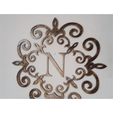 initial letter wall decor family initial monogram inside a metal scroll with n