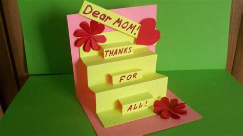 Handmade Gifts For Mothers Birthday - how to make a greeting pop up card for birthday