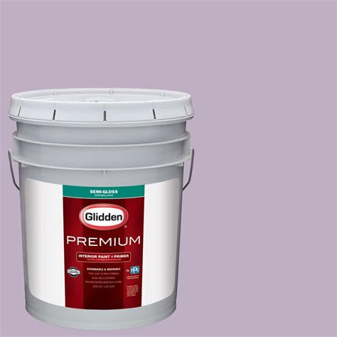 glidden premium 5 gal hdgv58d northern light purple semi gloss interior paint with primer