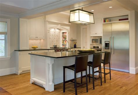 kitchen island with barstools black leather bar stools transitional kitchen dean poritzky custom homes