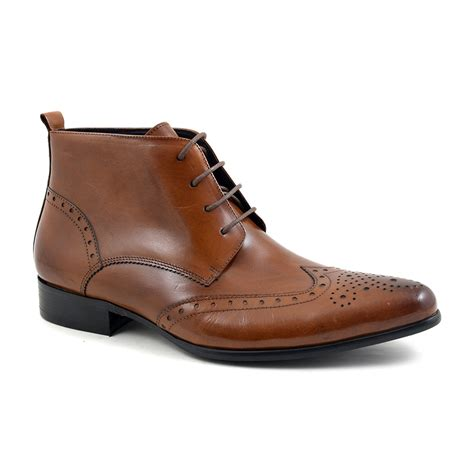 buy mens brown brogue lace up boots gucinari boots