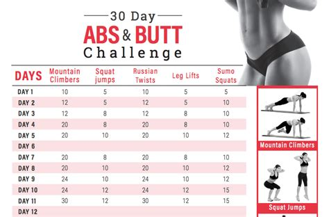 30 days abs challenge calendar 30 day abs and challenge calendar