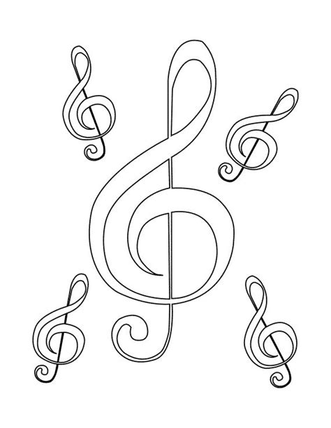 29 Best Images About Music Colouring Pages On Pinterest Treble Clef Coloring Page
