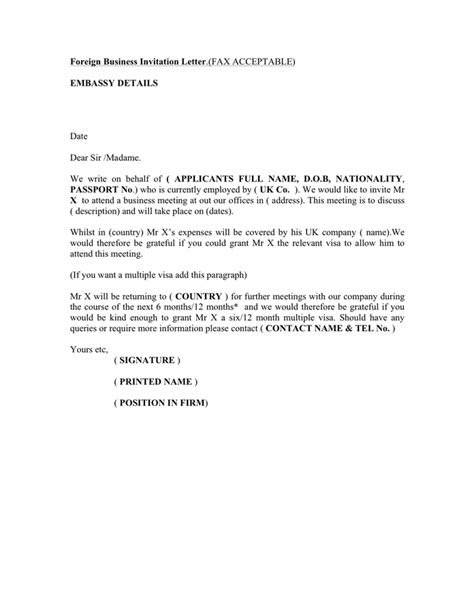 uk employers business visa letter template word