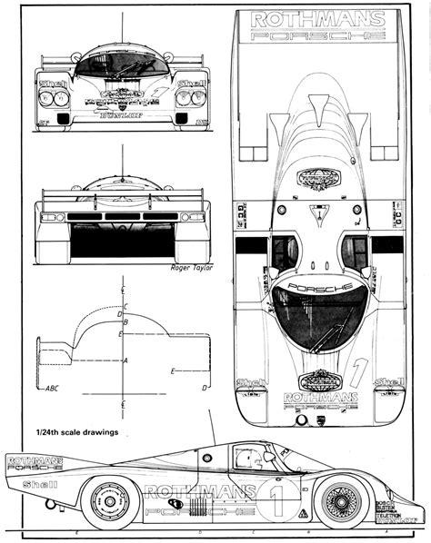 Porsche 956 Sketches Of Performance by Porsche 956 Le Mans 1982 Blueprint Free