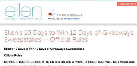 12 Days Of Giveaway Ellen - ellen s 10 day to win 12 days of giveaways sweepstakes sweeps maniac