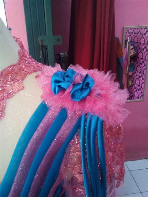 Dress Tille dress tille batik pink biru aplikasi offneisel detail