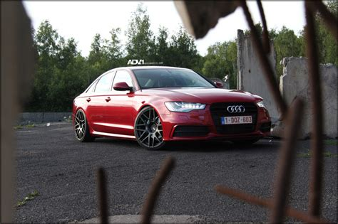 audi a6 modified red audi a6 straps on adv8 1 s and drops jaws adv 1 wheels