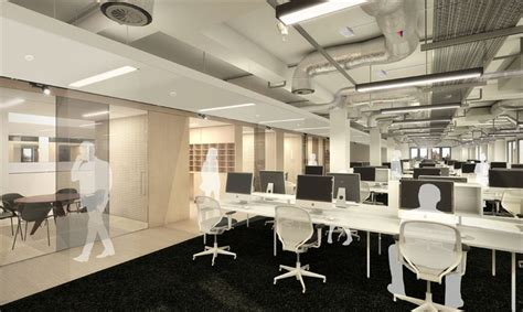 infinity insurance corporate office exposed concrete soffits and visible ductwork integral to