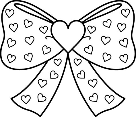 coloring page of bow bow with hearts coloring page free clip art