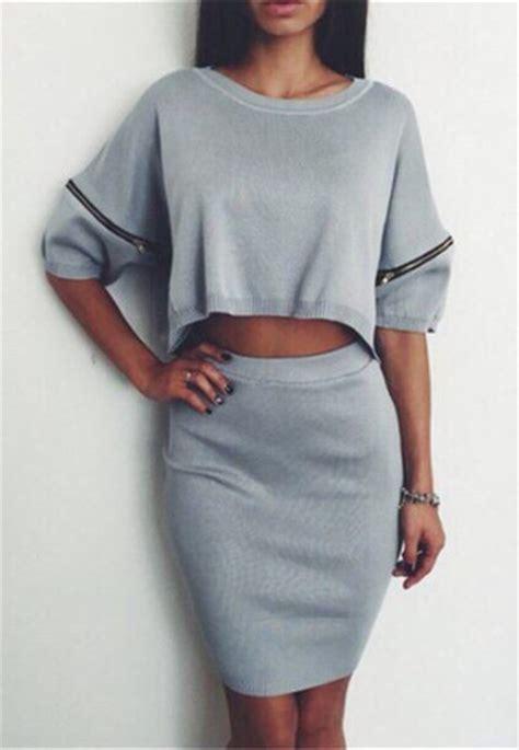 Set Cropped T Shirt Skirt cropped sweater skirt set sweater jacket