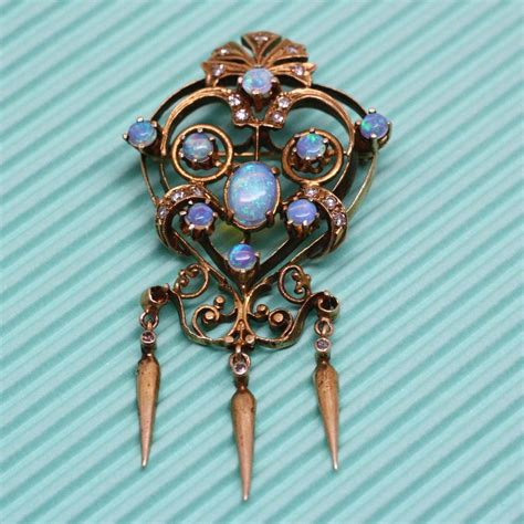 Pippin Vintage Jewelry by Circa 1930 S 14k Opal Pin Pendant Pippin