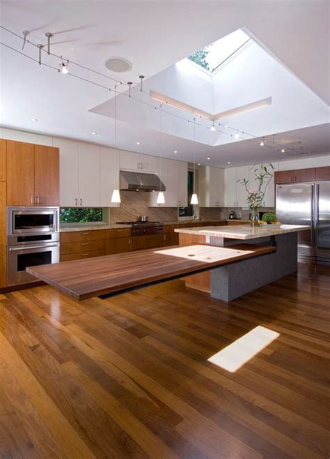 kitchen island with table extension floating around the house how suspended furniture can
