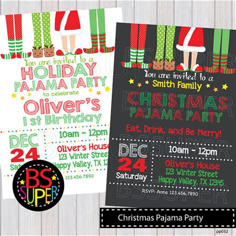 free christmas pj invitation pajama invitation pajama birthday