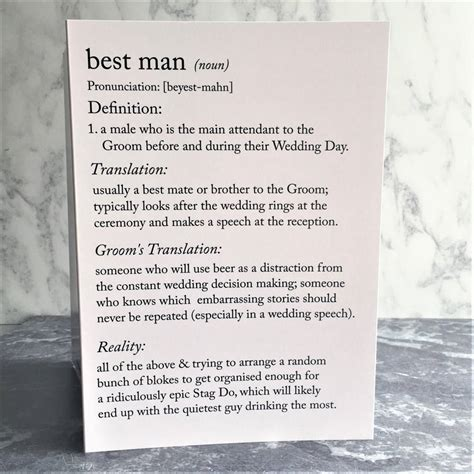funny best man definitions a5 card by the new witty