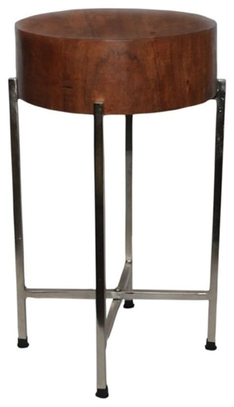 slim accent table slim mango wood stool table sura with silver legs