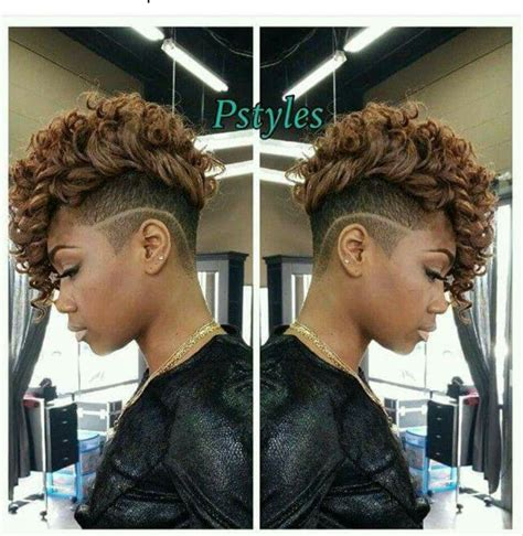 shaved sides curly weave mohawk hairstyles for black women 733 best images about mohawk in short sassy on pinterest